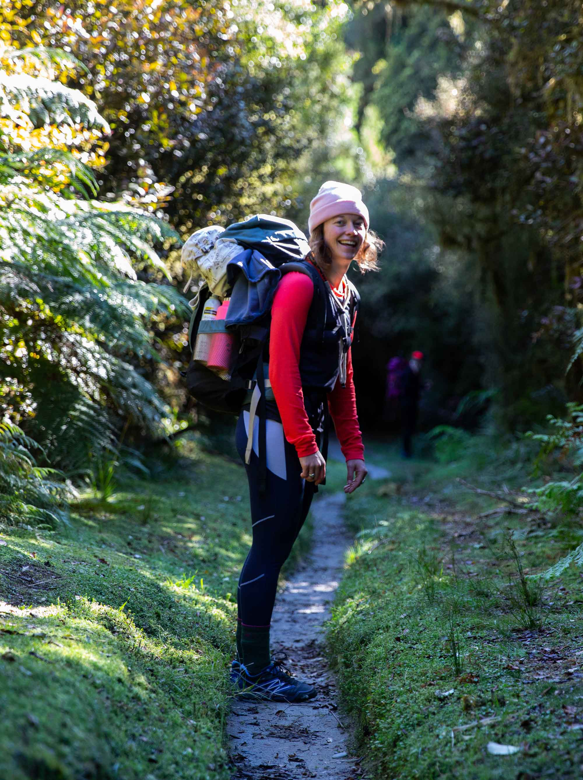 Female hiker on the Copland Track in New Zealand