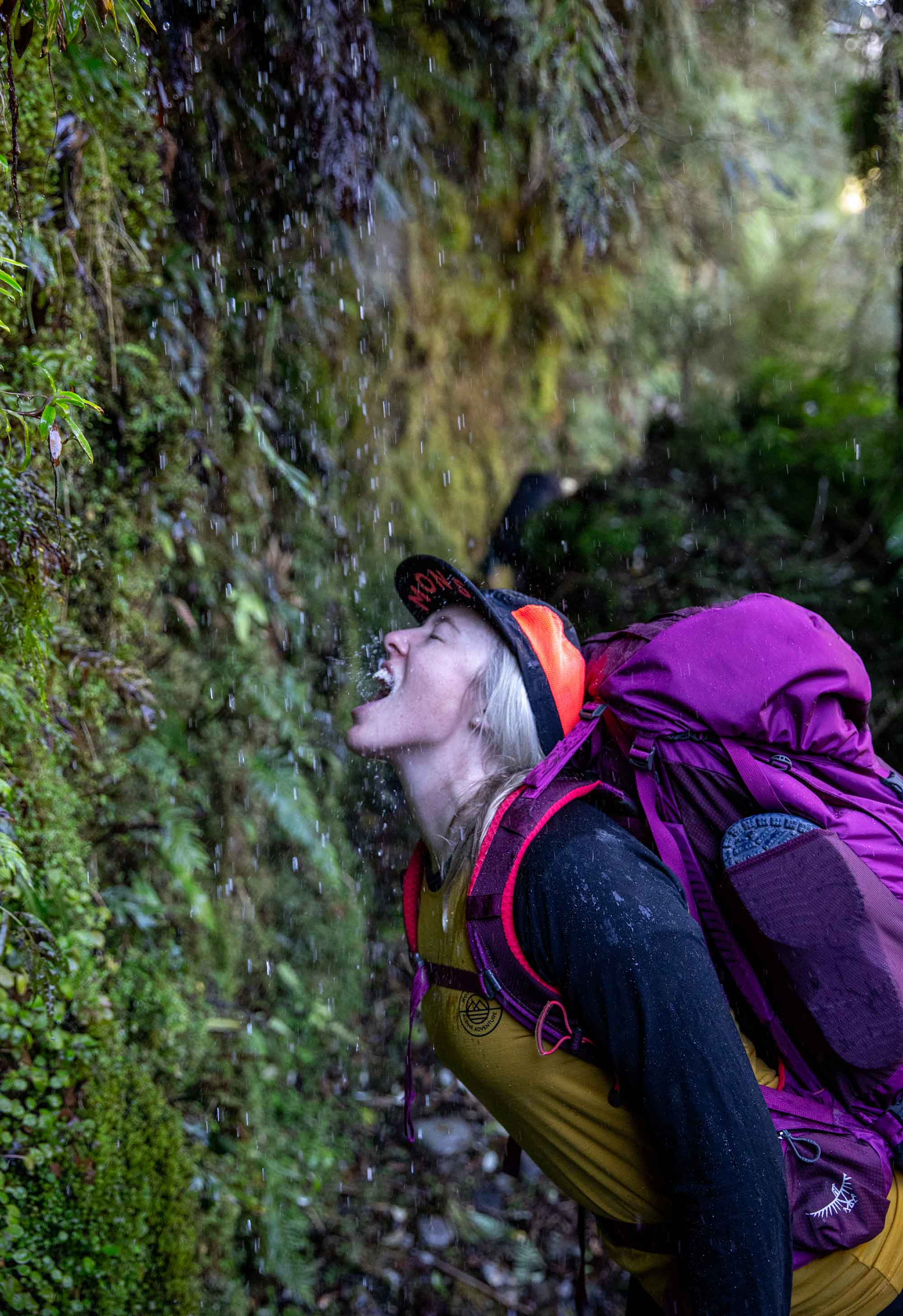 Female hiker drinks water from a stream on the Copland Track in New Zealand