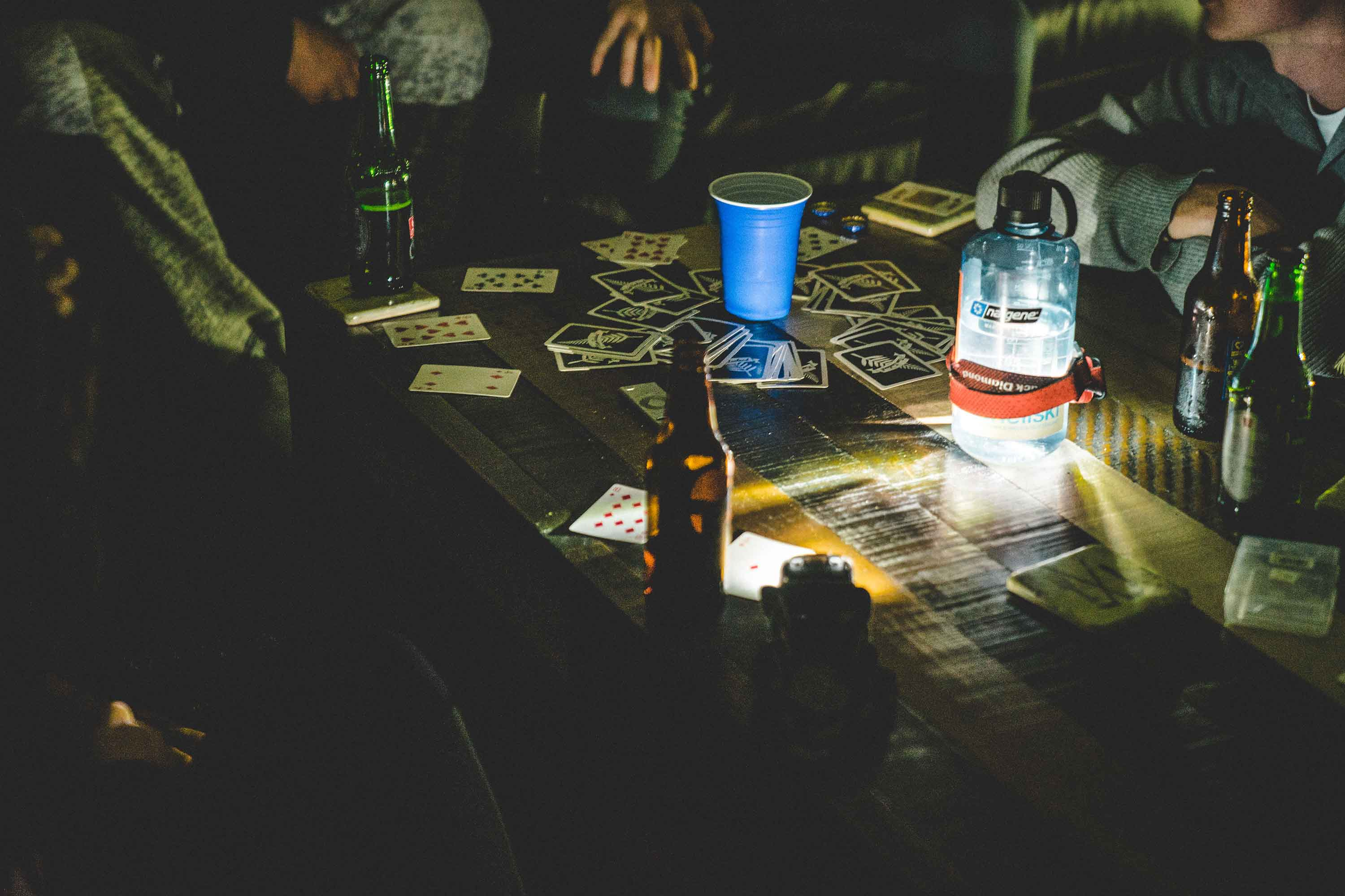 Playing cards when the power goes out in the Catlins in New Zealand