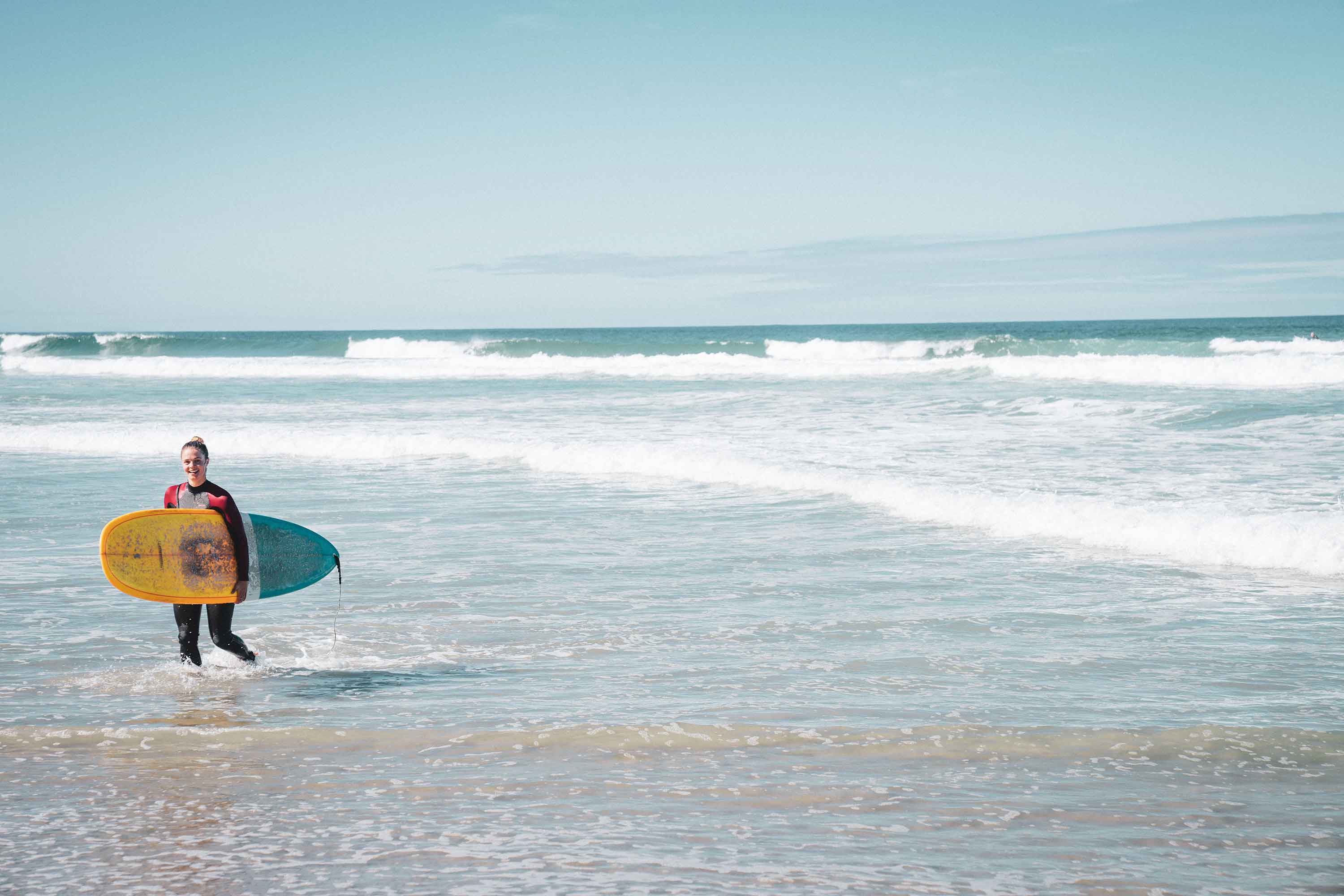 Victoria Caffrey on a surf adventure in the Catlins in New Zealand