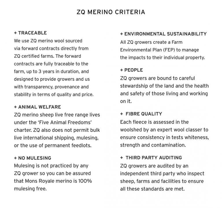 The eight criteria for ZQ merino