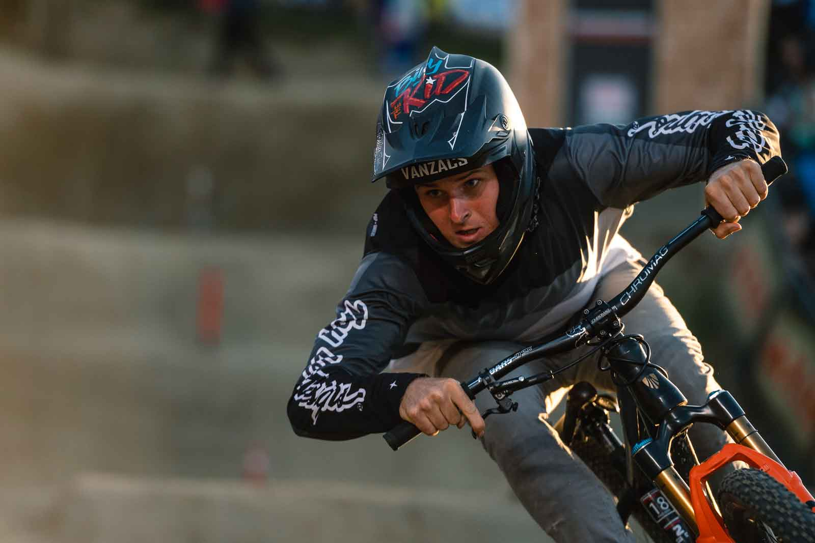 Billy Macleam rides the pump track at Crankworx Innsbruck