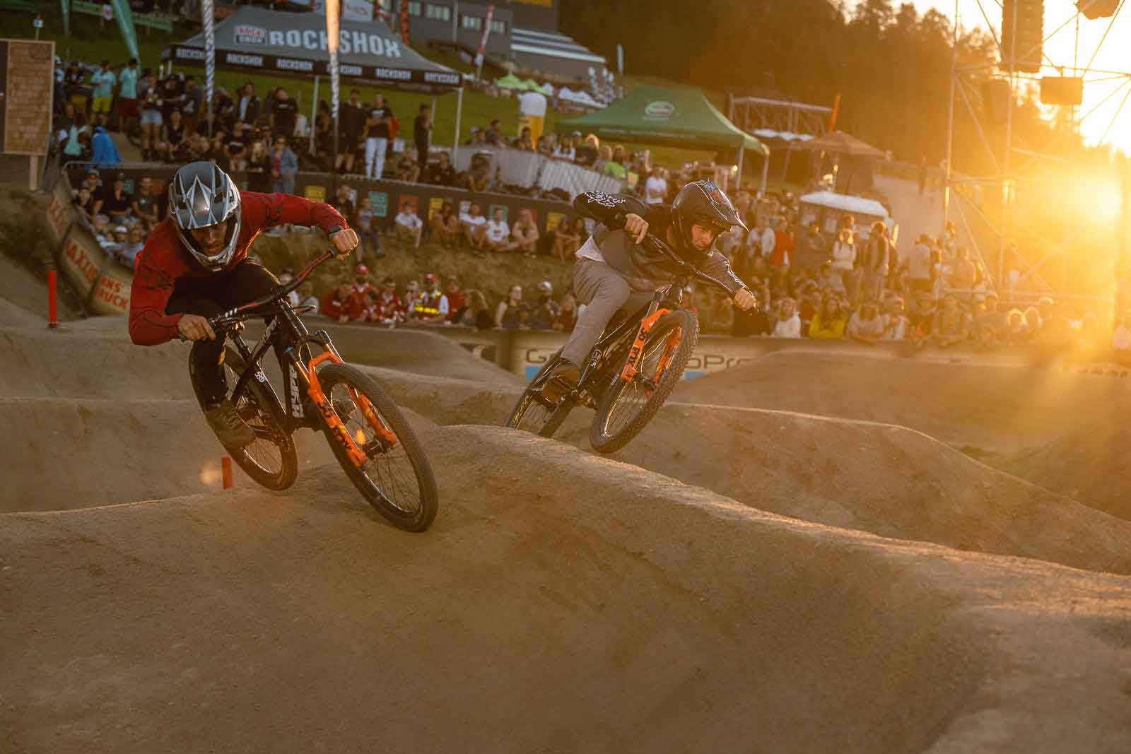 Competitors at the Pump Track Challenge at Crankworx Innsbruck