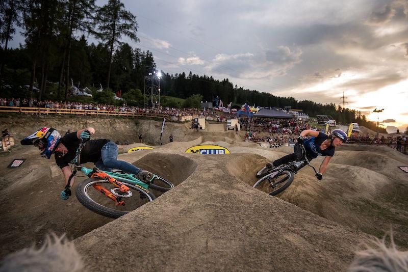 Crankworx Innsbruck Pump Track Jill Kinter and Kathi Kuypers